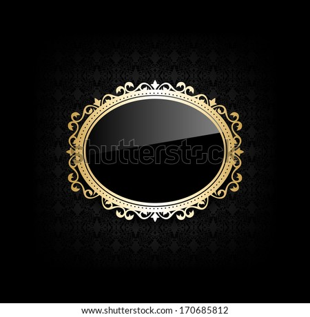 Vintage black frame on dark background - stock vector