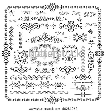 Vintage black stencils - stock vector