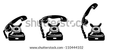 Vintage black telephone - stock vector