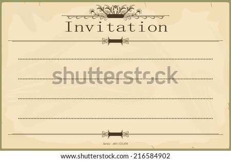 Vintage blank invitation in the style of the early 20th century. Standard size aspect ratio. Vector base to add any text and textures. No gradients.