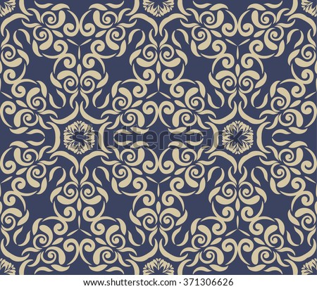 Vintage blue background with white Ornamental pattern