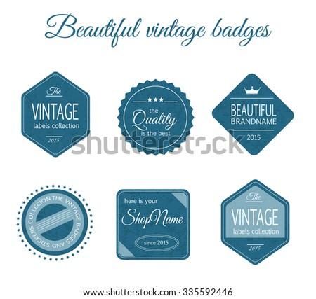 Vintage blue badges made in vector. Texture logos for your design. Stickers and labels
