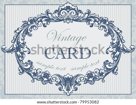 Vintage blue card. Edwardian Script and Imprint MT Shadow fonts used. - stock vector