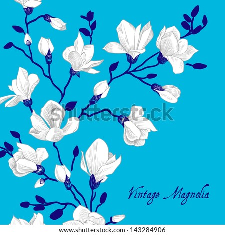 Vintage blue card with a magnolia - stock vector