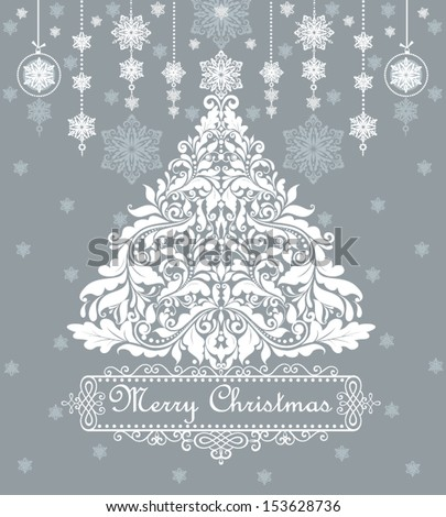 Vintage blue card with xmas tree - stock vector