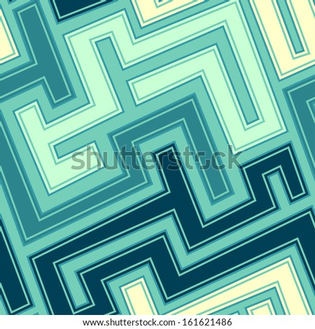 vintage blue curve seamless pattern - stock vector