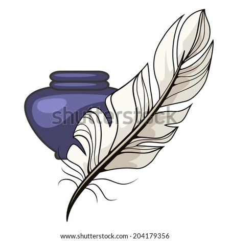 Vintage blue inkwell and white feather or quill for use as a pen to write  draw or do calligraphy isolated on white  vector illustration - stock vector