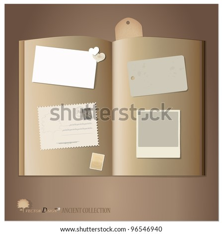 Vintage book and postcard. Vector illustration.