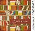 Vintage Bookstore Background - Bookcase Vector Background - Grunge style - stock vector
