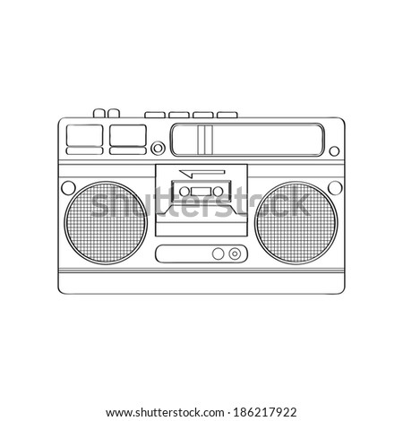 Vintage boom-box isolated on white background, vector illustration - stock vector