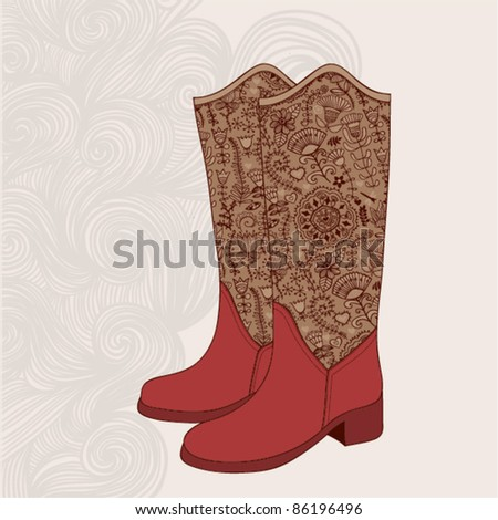 Vintage boots  with floral fabric. Cowboy boot with flowers ornament.