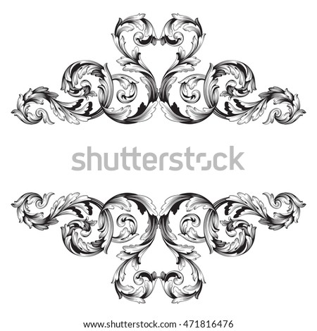 stock vector vintage border frame engraving with retro ornament pattern in antique rococo style decorative 471816476 - Western Wedding Invitation Wording