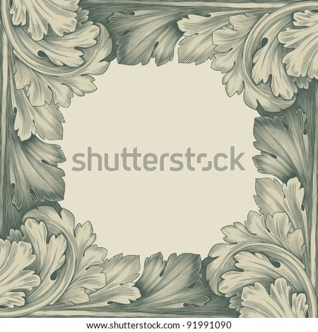 vintage border frame engraving with retro ornament pattern in antique rococo style decorative design vector - stock vector