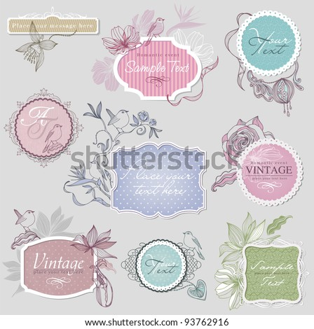 Vintage border set with birds - stock vector