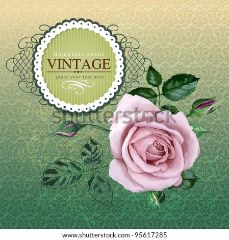 Vintage border with rose - stock vector