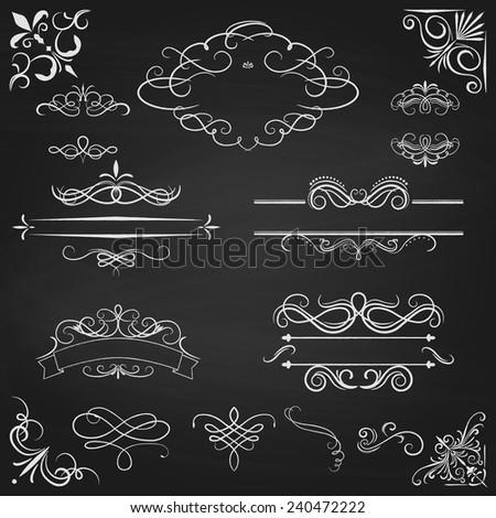 Vintage borders calligraphic set. Ornate design elements. Vector illustration. - stock vector