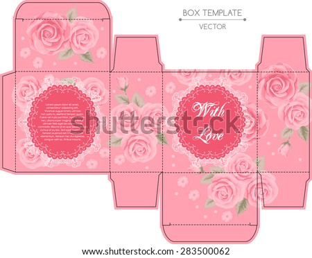 Vintage box design with roses. Shabby chic illustration. Die-stamping. Vector template - stock vector