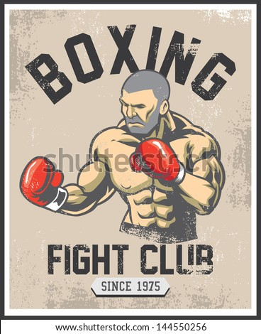 vintage boxing poster - stock vector