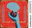 vintage brain idea - stock
