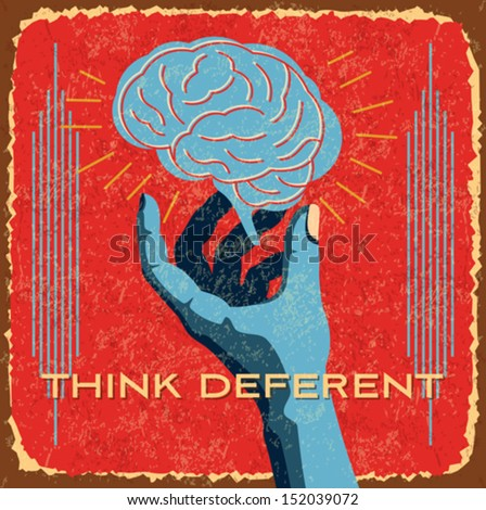vintage brain idea - stock vector