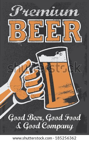 Vintage Brewery Beer Poster - Chalkboard Vector Illustration Sign. Removable texture - stock vector
