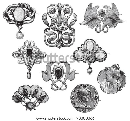 Vintage brooches collection / vintage illustration from Meyers Konversations-Lexikon 1897 - stock vector