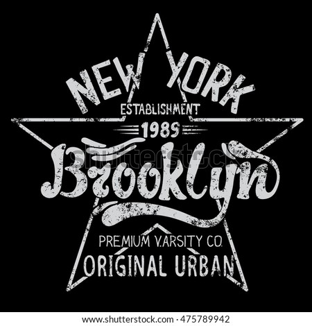 Vintage Brooklyn label.Grunge style.Typography design for t-shirts. Vector illustration