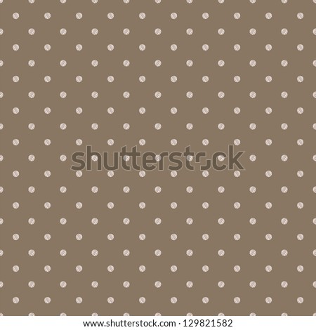 Vintage brown beige background with grunge polka dots seamless pattern - stock vector