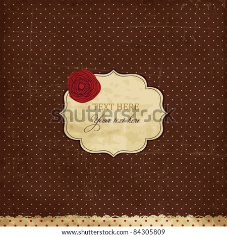 Vintage brown card with rose - stock vector