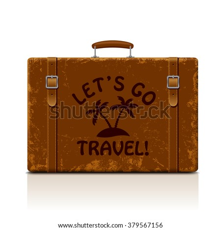 Vintage brown threadbare suitcase with straps and buckles isolated on white. Let's go  symbol and metaphor. Vector illustration. EPS 8 - stock vector