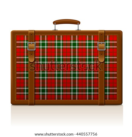 Vintage brown threadbare suitcase with tartan ornament isolated on white. Voyage and traveling symbol and metaphor. Vector illustration. EPS 10 - stock vector