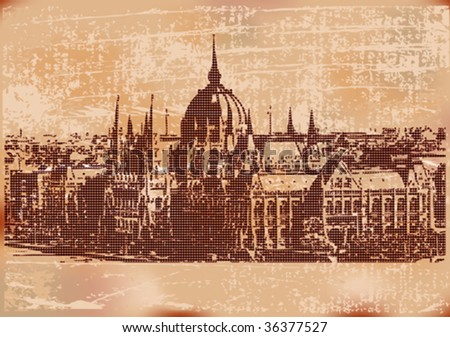 Vintage Budapest Background - stock vector