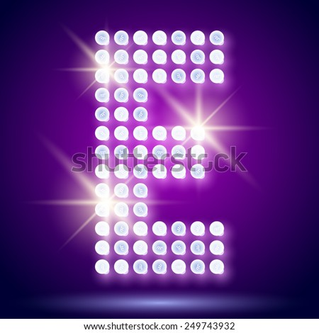 Vintage bulb lamp realistic font of 80s disco with stars. Letter E - stock vector