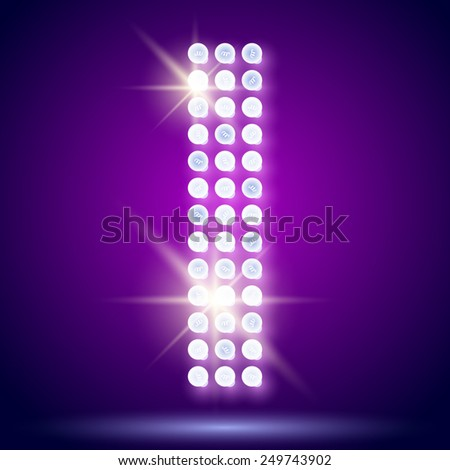 Vintage bulb lamp realistic font of 80s disco with stars. Letter I - stock vector