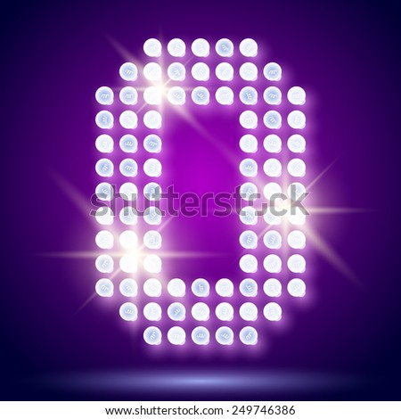 Vintage bulb lamp realistic font of 80s disco with stars. Letter O - stock vector