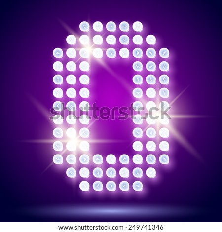 Vintage bulb lamp realistic font of 80s disco with stars. Number 0 - stock vector