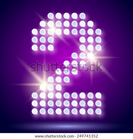 Vintage bulb lamp realistic font of 80s disco with stars. Number 2 - stock vector