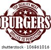 Vintage Burger Restaurant Menu Stamp - stock vector