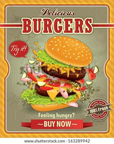 Vintage Burgers poster design - stock vector