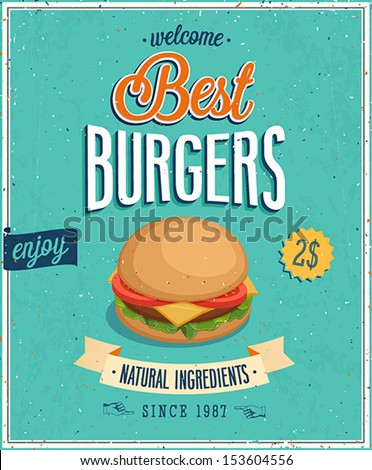 Vintage Burgers Poster. Vector illustration. - stock vector