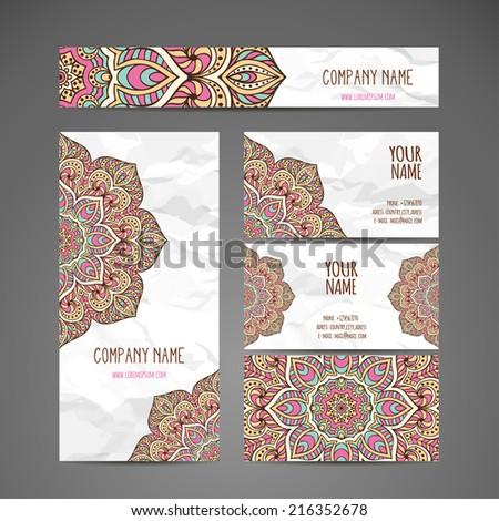 Vintage Business Card Round Ornament Pattern Decorative Elements Hand Drawn Background