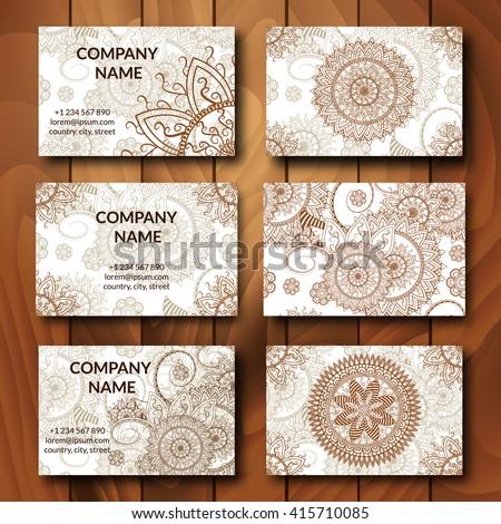 Vintage business cards set ornamental mandala stock vector vintage business cards set ornamental mandala indian arabic ornaments mehndi henna tattoo stopboris Images