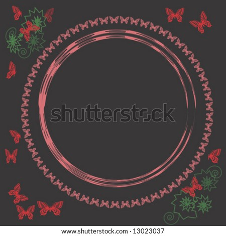 Vintage butterfly frame - illustration for a poster - stock vector