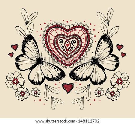 Vintage Butterfly Heart Ilustration - stock vector