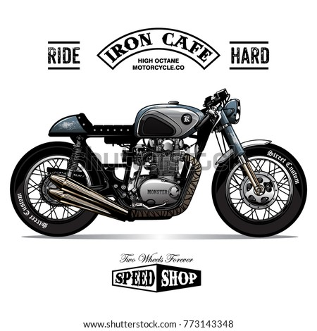 VINTAGE CAFE RACER POSTER Stock Vector 773143348