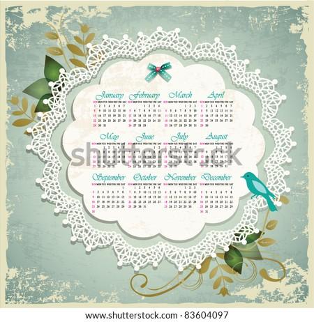 Vintage calendar 2012 - stock vector