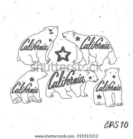 Vintage California bear set with star. Grunge effect is on a separate layer - stock vector