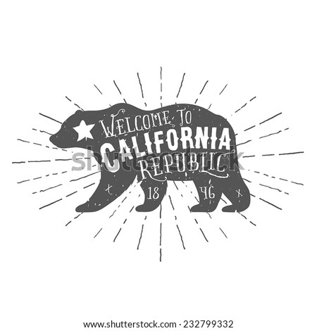 Vintage California Republic bear with sunbursts. Grunge effect is on a separate layer. - stock vector