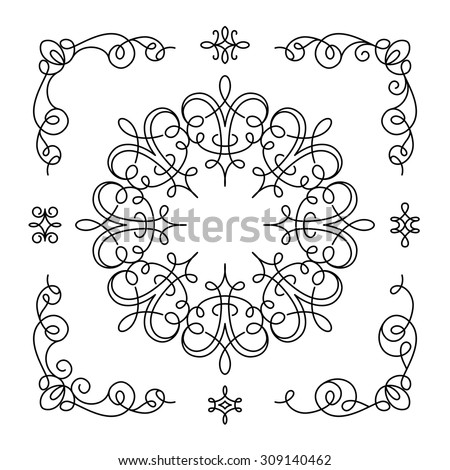 Vintage calligraphic corners and vignettes, set of decorative design elements in retro style, vector scroll embellishment on white - stock vector