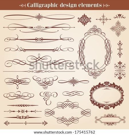 Vintage Calligraphic Design Elements And Page Decoration Vector - stock vector